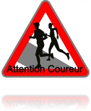 panneau route attention coureur